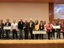 Foto de grupo con los ASEICA AWARDS 2018 y los ganadores de las Ayudas